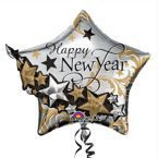 "Balon Foliowy 26"" 3D Gwiazda ""Happy New Year"""