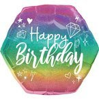 "Balon foliowy 23"" ombre - gradient Happy Birthday"